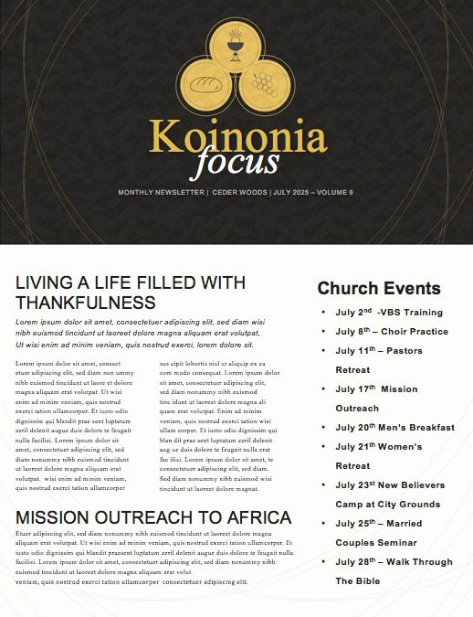 Communion Sunday Take Eat Church Newsletter