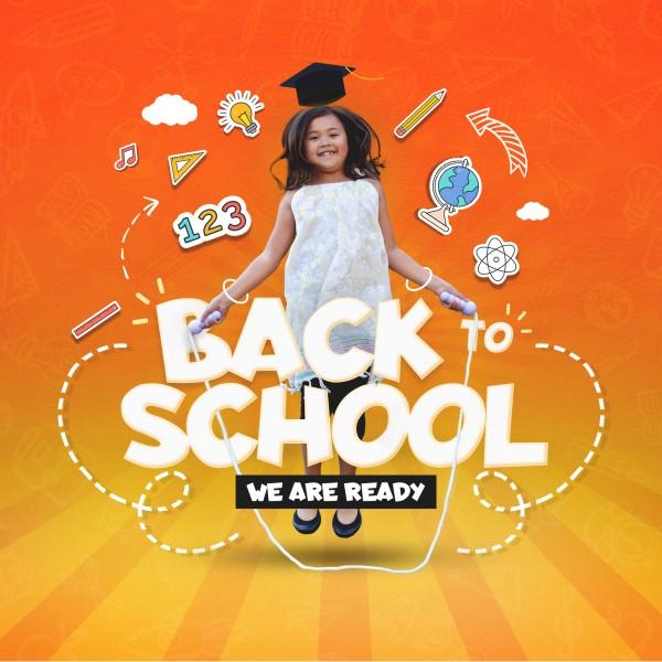 Back To School Orange Social Media Graphic