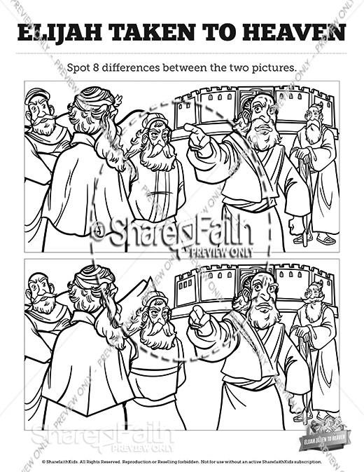 2 Kings 2 Elijah Taken to Heaven Spot the Differences
