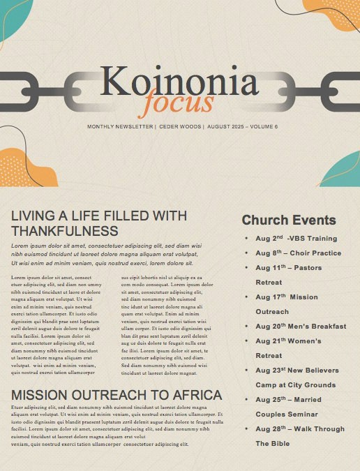 Celebrate Recovery Church Newsletter