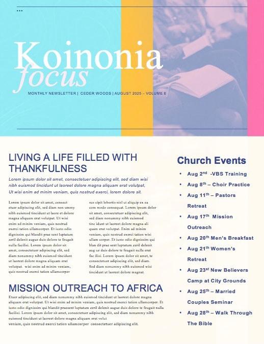 Membership Class Sign Up Church Newsletter