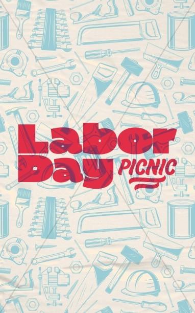 Labor Day Picnic Red Church Bifold Bulletin