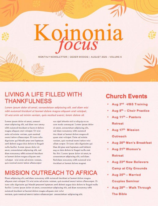 Fall Ministry Launch Orange Church Newsletter