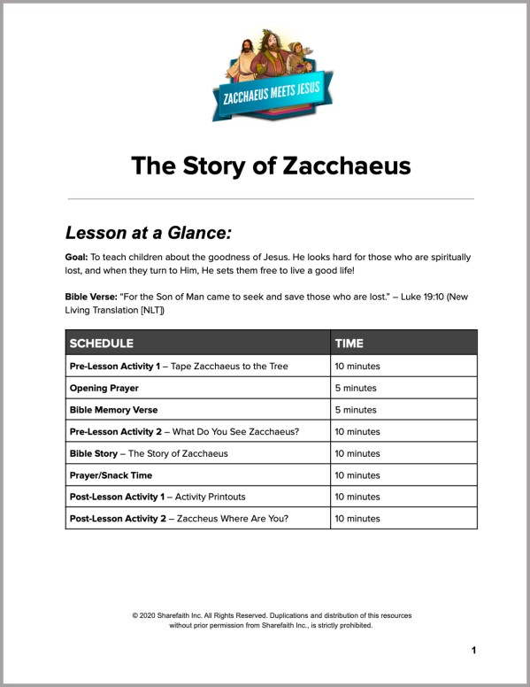 Luke 19 The Story of Zacchaeus Preschool Curriculum
