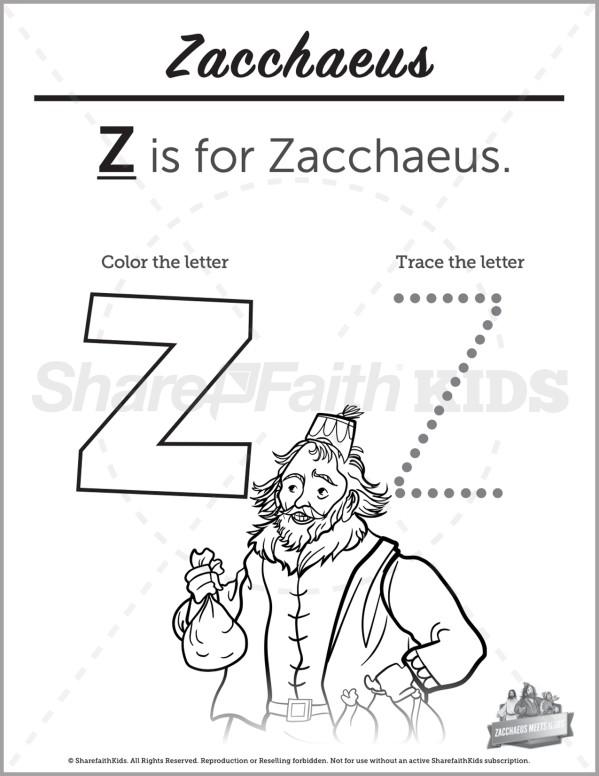 Luke 19 The Story of Zacchaeus Preschool Letter Coloring