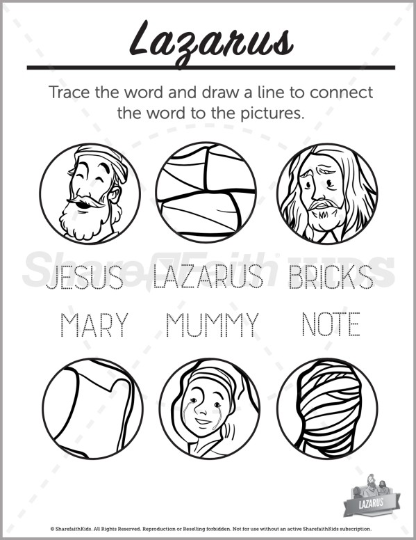 John 11 The Story of Lazarus Preschool Word Picture Match