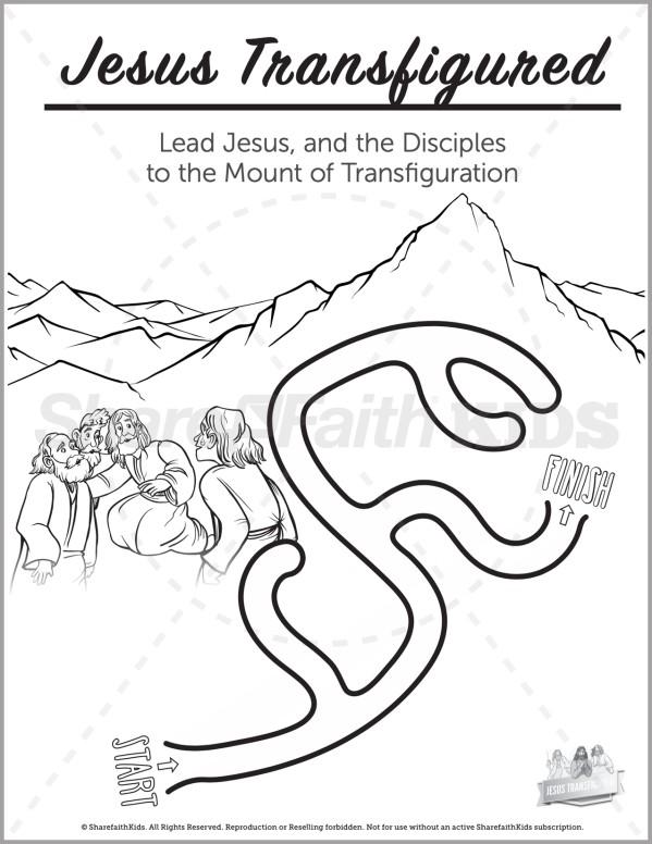Matthew 17 The Transfiguration Preschool Mazes