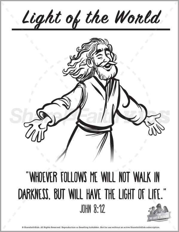 John 8 Light Of The World Preschool Coloring Pages