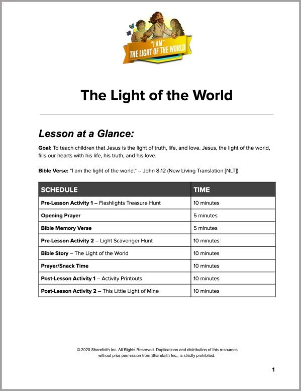 John 8 Light Of The World Preschool Curriculum