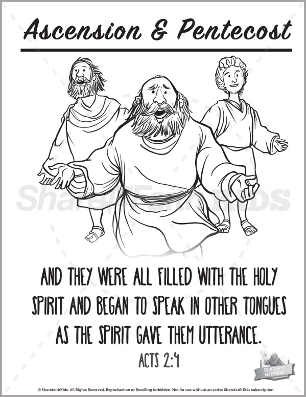 Acts 2 The Ascension and Pentecost Preschool Coloring Pages