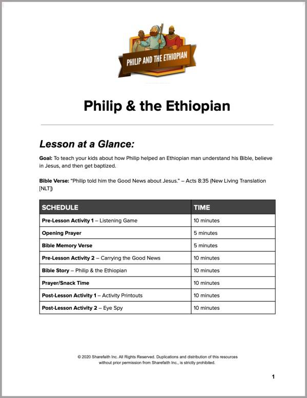 Acts 8 Philip and the Ethiopian Preschool Curriculum