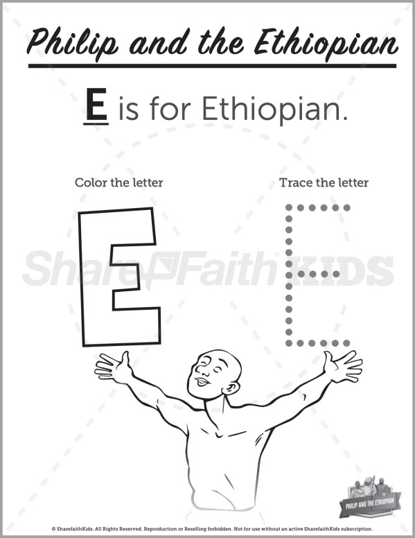 Acts 8 Philip and the Ethiopian Preschool Letter Coloring