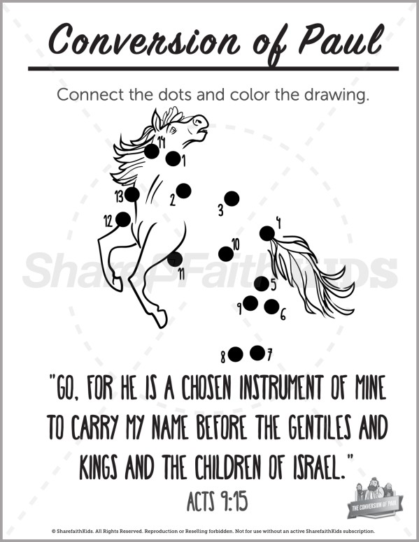 Acts 9 Paul's Conversion Preschool Dot to Dot