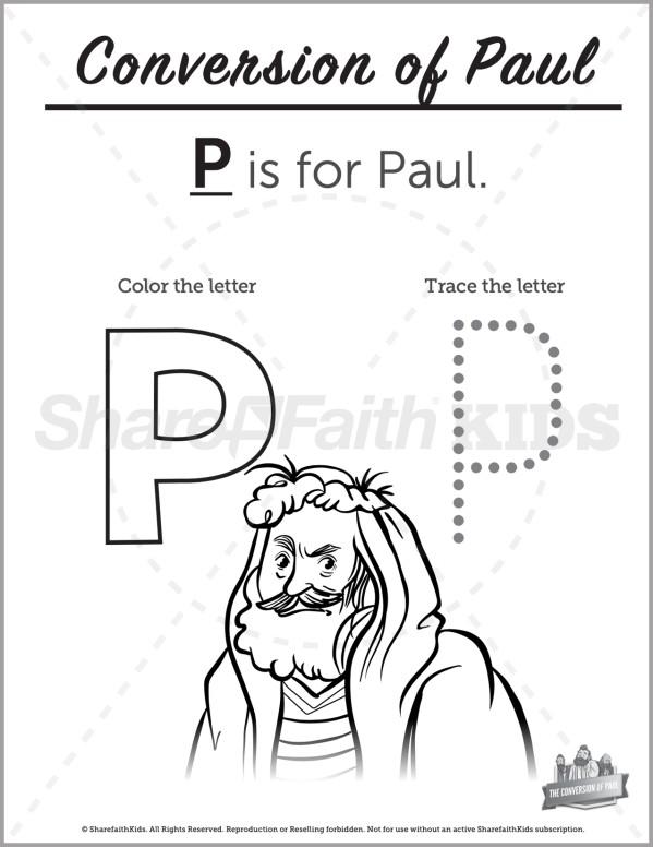 Acts 9 Paul's Conversion Preschool Letter Coloring