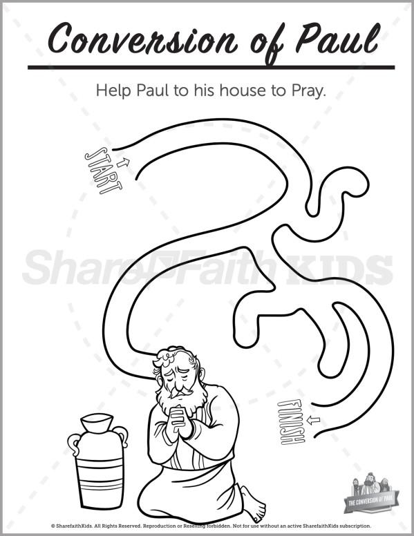 Acts 9 Paul's Conversion Preschool Mazes