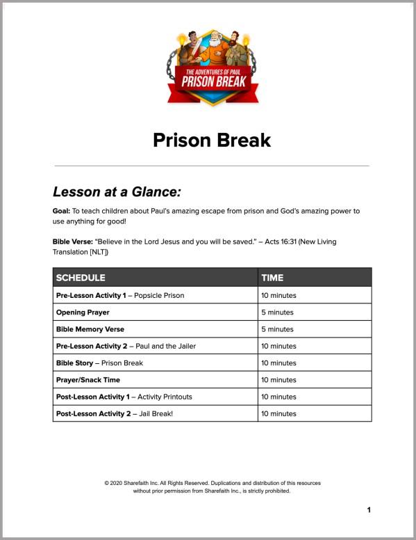 Acts 16 Prison Break Preschool Curriculum