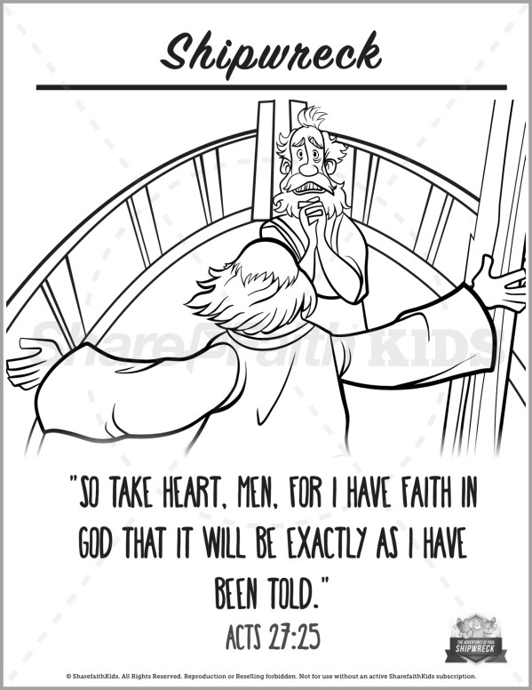 Acts 27 Shipwreck Preschool Coloring Pages