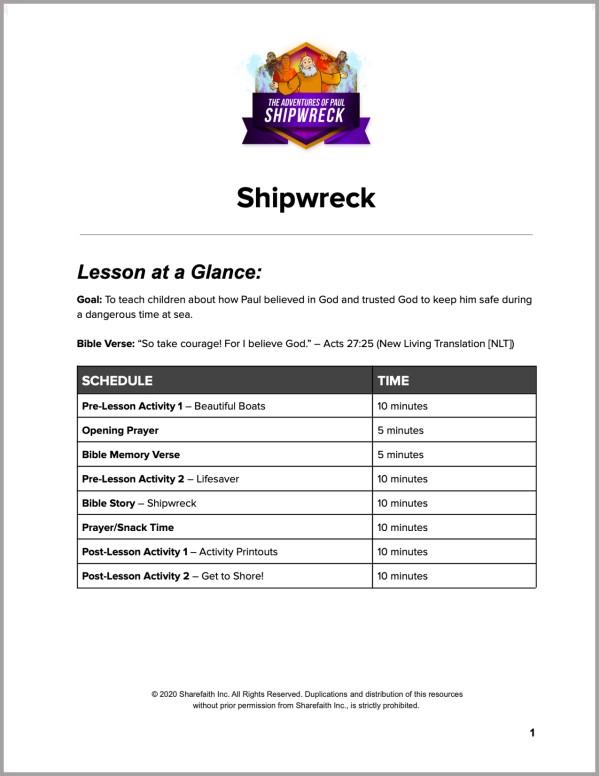 Acts 27 Shipwreck Preschool Curriculum