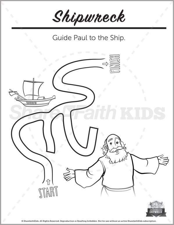 Acts 27 Shipwreck Preschool Mazes