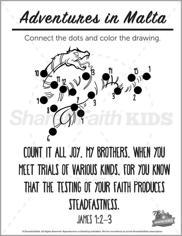 Acts 28 Adventures in Malta Preschool Dot to Dot