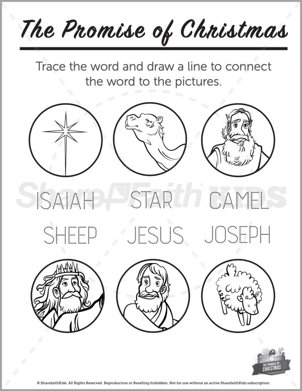Matthew 2 The Promise of Christmas Preschool Word Picture Match