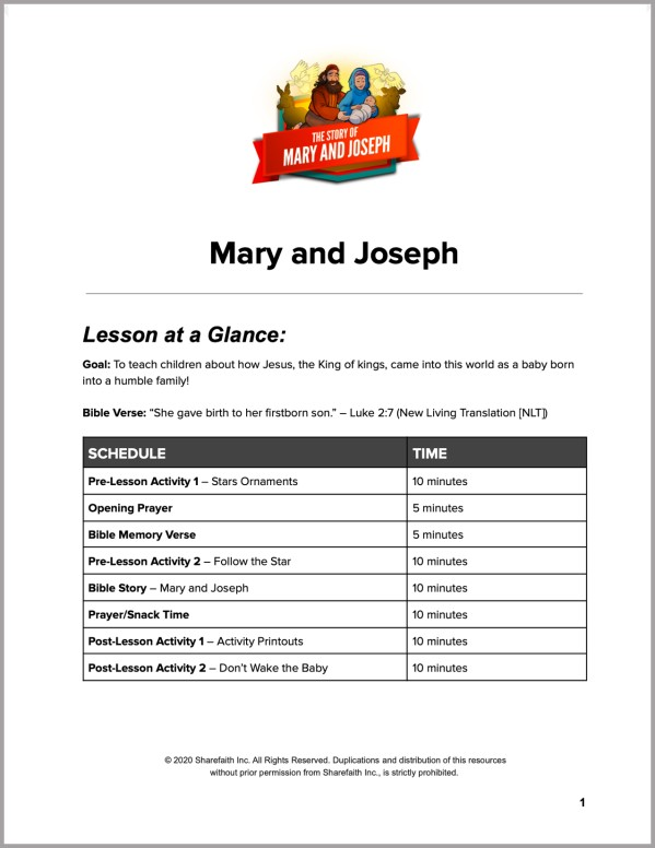 Luke 2 Mary and Joseph Christmas Story Preschool Curriculum