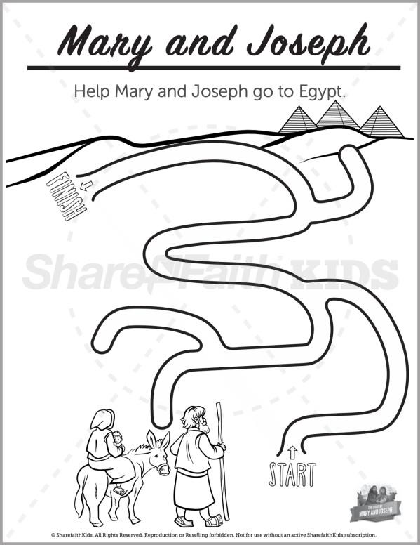 Luke 2 Mary and Joseph Christmas Story Preschool Mazes