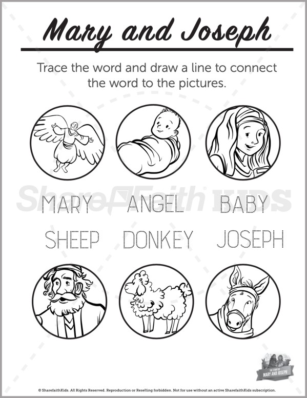 Luke 2 Mary and Joseph Christmas Story Preschool Word Picture Match