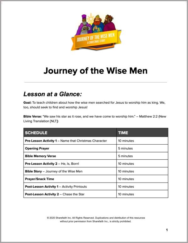 Matthew 2 Journey of the Wise Men Preschool Curriculum