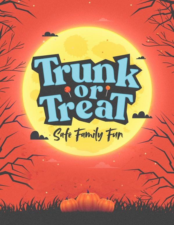 Trunk Or Treat Pumpkins Church Flyer