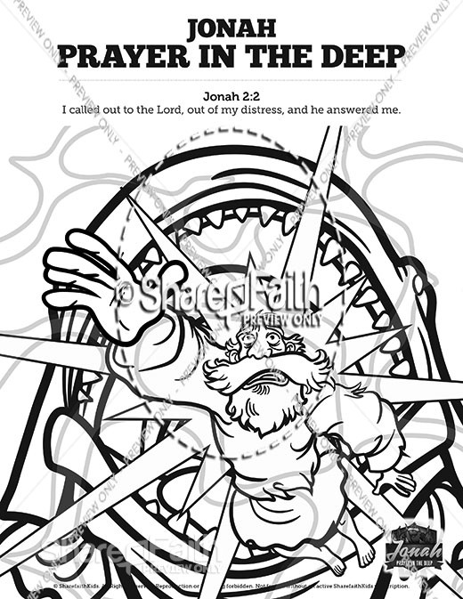 Jonah 2 Prayer in the Deep Sunday School Coloring Pages