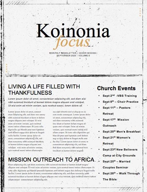 Pastor Appreciation Sunday Church Newsletter