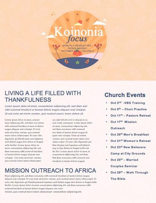 Harvest Party Orange Church Newsletter