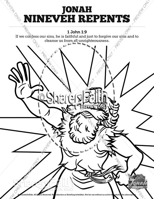 Jonah 3 Nineveh Repents Sunday School Coloring Pages