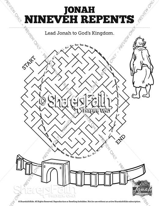 Jonah 3 Nineveh Repents Bible Mazes
