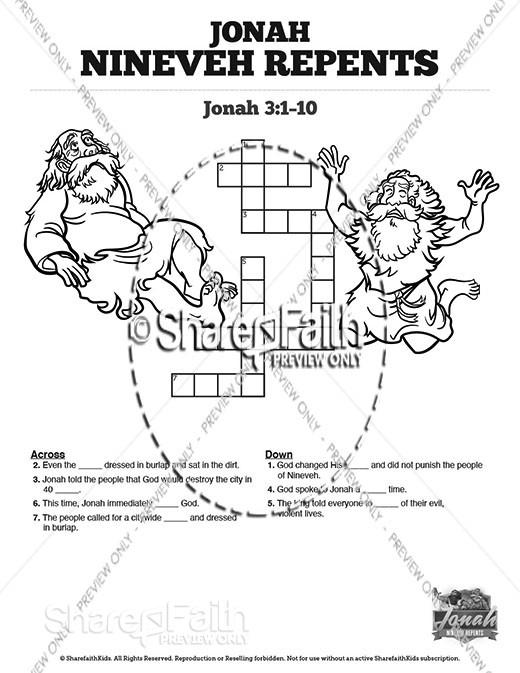Jonah 3 Nineveh Repents Sunday School Crossword Puzzles