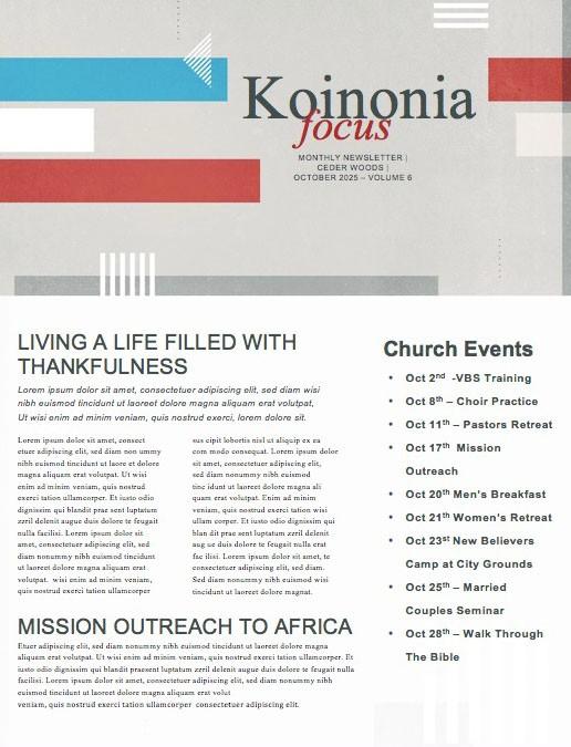 Veteran's Day Service Church Newsletter