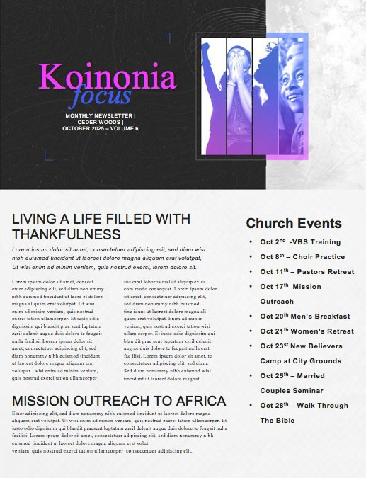 Hope In Action Church Newsletter