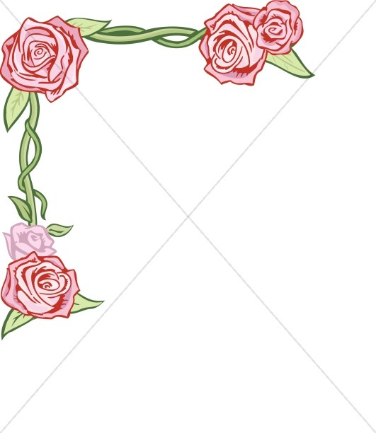 Rose with Vines Corner
