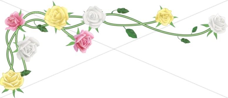 Realistic Spring Rose Vine Corner