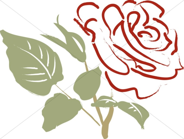 Single Rose Clipart: Single Red Rose Blossom