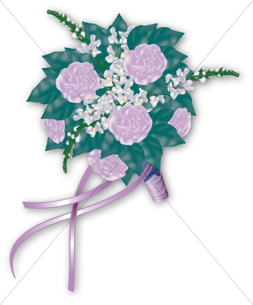 Lavendar Blossoms Bridal Bouquet with Ribbon