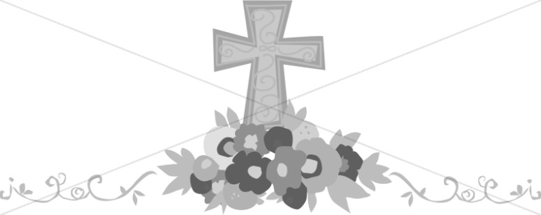 Grayscale Cross with Flowers Page Accent