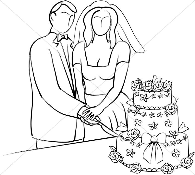 Stylized Bride and Groom Cutting Cake
