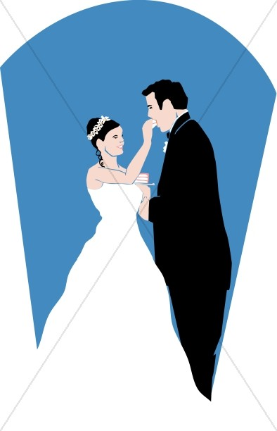 Wedding Cake and Blue Background