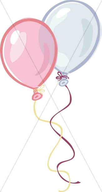 Pink and Blue Birthday Balloons