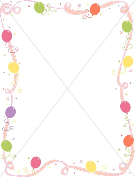 Whimsical Pink Ribbon with Party Balloons