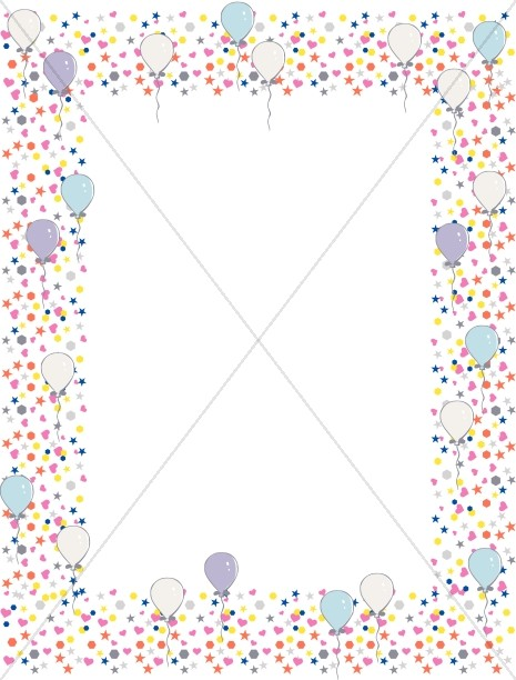 Many Bright Shapes with Birthday Balloons