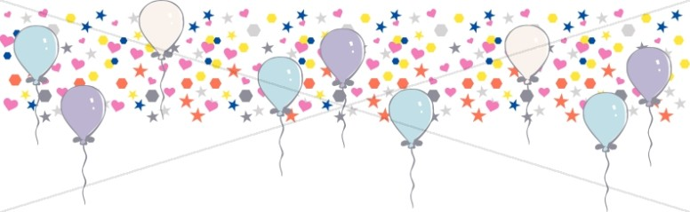 Many Bright Shapes with Birthday Balloons Divider
