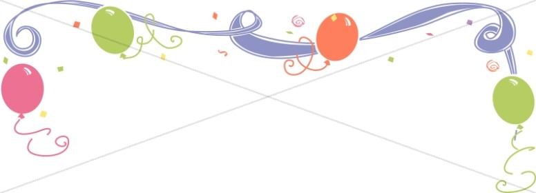 Whimsical Ribbon and Birthday Balloon Header